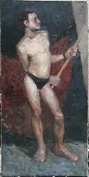 Superb Giant Original Oil On Canvas Male Nude Man Boy Model Hand Made