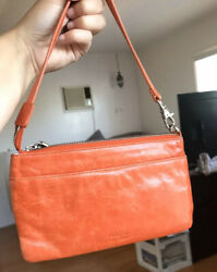 Orange Hobo Clutch Purse With Zippers $40.00