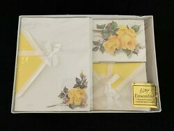 Vintage Whitings Stationary Box Set Yellow Roses Ensemble Letter Writing Notes