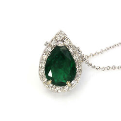 2.7 Ctw Natural Green Emerald And Diamond Solid 14k White Gold Tear Drop Necklace