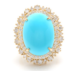 13.00 Carats Natural Turquoise And Diamond 14k Solid Yellow Gold Ring