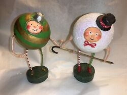 Esc Trading Lori Mitchell Christmas Snowball And Ornament Figures X 2