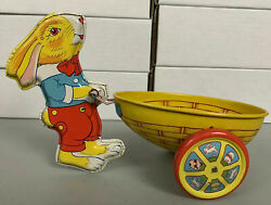Easter Bunny Pulling Basket Tin Toy J. Chein Very Nice