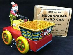 Wyandotte Easter Bunny Wind Up Hand Car Lithograph Pressed Steel Toy W/box