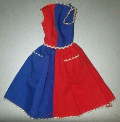 Vintage Barbie Dress Red And Blue Fancy Free 943 1960's Tagged Black Label B12