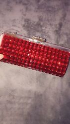 Beautiful ❤️red❤️ Rhinestone clutch evening bag NWT $6.99