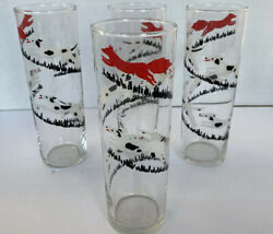 Vintage 3 Pc Libbey Tally Ho Fox And Hound Hunt Tall Tom Collins Glasses