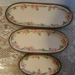 Set Of 3 Franciscan Desert Rose Made In Usa Long And Narrow Dishes