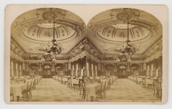 1870and039s W. Notman Stereoview Grand Dining Room No. 738 Windsor Hotel Montreal