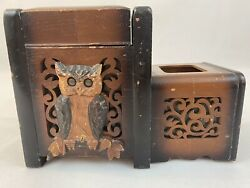 Partial Japanese Cigarette Holder Mirror Wooden Music Box Owl Antique Fast Ship
