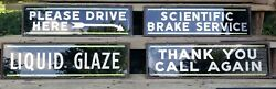 1930and039s Double Sided Glass Reflector Dealer Auto Service Advertising Signs.
