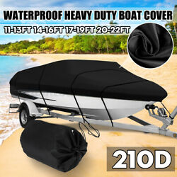 Waterproof Heavy Duty Boat Cover Trailerable Fish Ski Bass V-hull Runabouts 210d