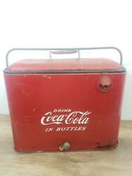 Vintage Coca Cola Metal Cooler With Bottle Opener Coke Collectible