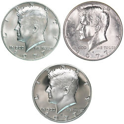 1977 P D S Kennedy Half Dollar Year Set Proof And Bu Us 3 Coin Lot
