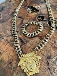 Iconic Gianni Versace Gold-tone Medusa Medallion Chain Necklace And Bracelet 90's