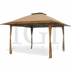 Tan 13and039x13and039 Height Adjustable Auto Extension Push Up Gazebo Canopy Shelter