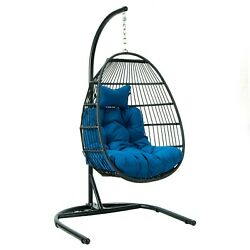 Leisuremod Outdoor Patio Wicker Folding Hanging Egg Swing Chair With Stand