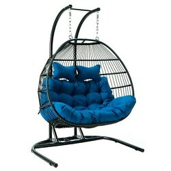 Leisuremod Outdoor Patio Wicker Folding 2 Person Double Hanging Egg Swing Chair