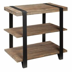 Alaterre Furniture Modesto Metal Strap And Reclaimed Wood End Table With Shelf