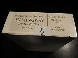 Limited Edition Ballpoint Pen Hemmingway New In Box Sealed