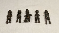 1910-1920's Five Cast Iron Palmer Cox Brownie Comical Figures For Wilkins Toys