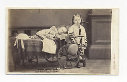 1860s-70s Cdv Photo German Tin Toy Train, Beautiful Girl And Doll Lay In Carriage