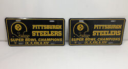 Pittsburgh Steelers Super Bowl Ix, X, Xiii, And Xiv Champs License Plates