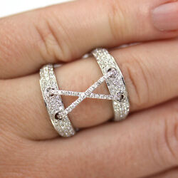 1.5 Ctw Natural Diamond Solid 14k White Gold Wide Open X Finger Wrap Ring 21 Mm