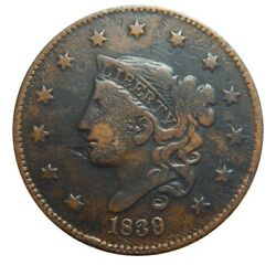 Large Cent/penny 1839, 9 Over 6 Overdate Newcomb 1 Mid Grade
