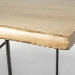 Papillion Ii 80x40 Blonde Live Edge Sold Wood Top Black Metal Base Dining Table
