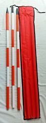 Ranging Rod 3 Meter 3 Fold Solid Shoe For Survey, And Civil Engineers Set Of 2