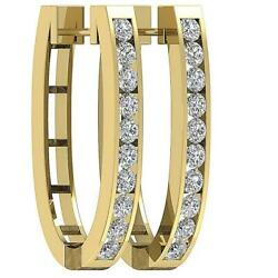 Si1 G 3.00ct Natural Diamond Hoops Earrings Channel Set 14k Solid Gold Appraisal