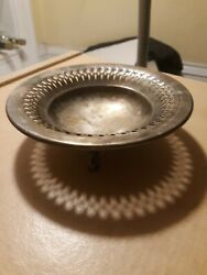 Epca Bristol Silver By Poole Footed Bowl Ashtray Ash Tray Silverplate Plated