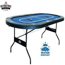 10 Player Folding Poker Table Game Room Playing With Water Resistant Speed Felt
