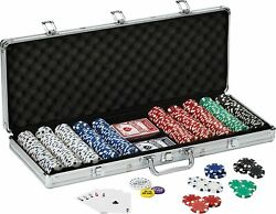 11.5 Gram Texas Hold 'em Clay Poker Chip Set With Aluminum Case 500 Dice Chips