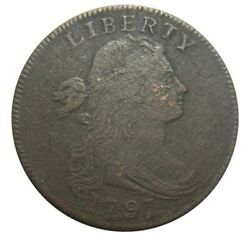 Large Cent/penny 1797 Single Leaves Rare Plain Edge Xf Details Ground Recovery