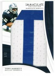 2018 Panini Tony Dorsett Immaculate Collection Nameplate Nobility Letter T 7/7