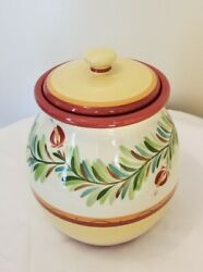 Southern Living At Home Gail Pittman Siena Cookie Jar Hand Painted Canister Lid