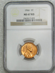 1966 P Lincoln Cent Business Strike Ngc Ms67rd Bright Red Superb Luster Pq G027