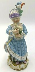 Antique Meissen Girl Holding A Toy Animal Figurine