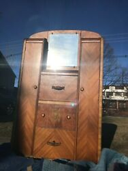 Antique Wood Armoire Bedroom Furniture With Drawers And Mirror Local Pickup Only