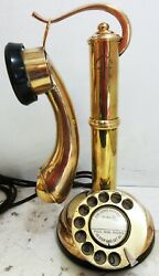 Brass Candlestick Rotary Dial Guillotine Telephone Operational