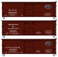 Accurail 8125 36' Double Sheathed Wood Boxcar Mtl End Nyc Boston/albany 3pak