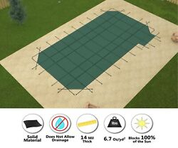 Gli Valuex Solid W/ Drain Pool Safety Cover W/ 4' Radius Corners And Right Step