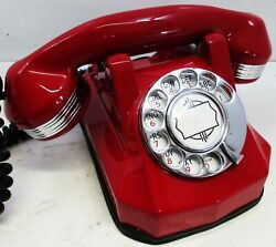 Antique Automatic Electric Red Monophone Telephone Ae40 Restored