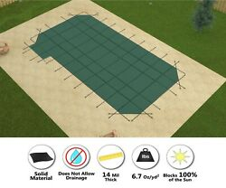 Gli Valuex Solid W/ Drain Pool Safety Cover W/ 4' Radius Corners And Left Step