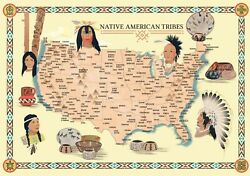 Native American Indian Tribes Map History Poster Territory Tribal Spirit Nation