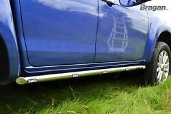 To Fit 2016+ Ford Ranger 4x4 Side Bars Tapered Ends Stainless Tube Skirts + Leds