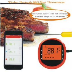 Wireless Bt Bbq Meat Thermometer Food Cooking Oven Grill Smoker 2 Probes Lcd