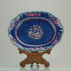 Antique 18c Large Serving Dish Qing Chinese Porcelain Blue Ground With P...